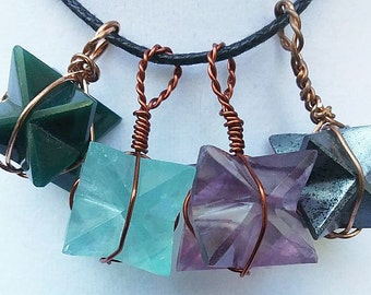 BLOODstone, Green or Puprle FLUORITE Or HEMATITE MERKABA Star Pendant with Copper Wrap, Sacred Geometry Necklace, With Chain