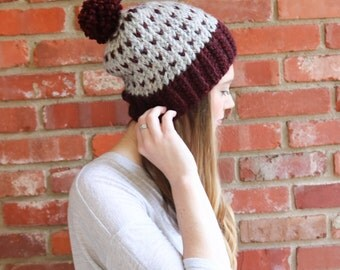 Women's Slouchy Knit Hat with Pom Pom - The Norris Hat