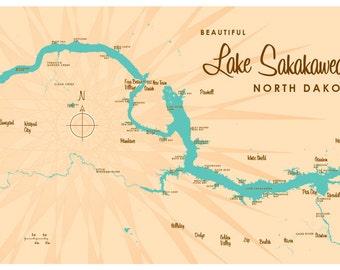 Lake Sakakawea, ND Map Print