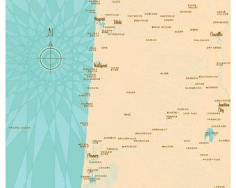 Central Oregon Coast Map Print