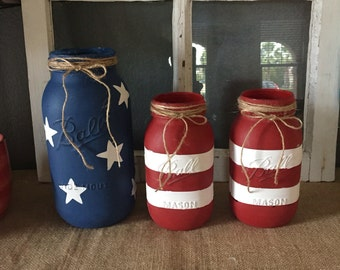 American Flag Ball jars. Handed painted with Chalk paint.