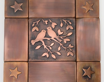 Copper wall tiles metal accent tiles country style decor