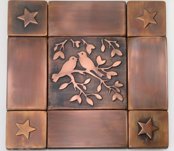 Handmade tiles copper wall tiles tree of life set of 9 - Decorative tiles for kitchen walls ...