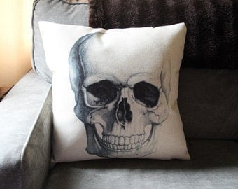 Skull Pillow Cover // Pirate Pillow Cover // Gothic Pillow Cover // 18x18 Square Pillow Cover