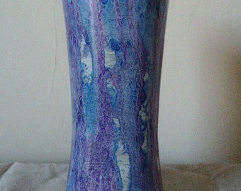 Glass vase vinegar painted in blue and violet