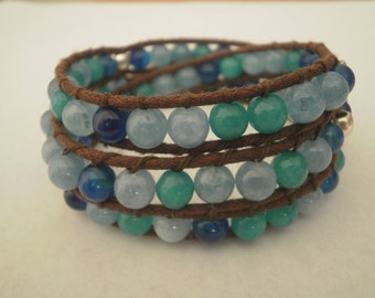 Three turns with blue agate bracelet