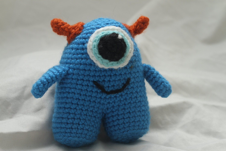 Amigurumi Horns : Handmade Crochet Amigurumi Stuffed Blue Monster with Horns