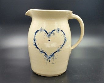 Vintage 1980's Art Pottery Pitcher Marshall Texas P.R. Storie Handmade Blue Heart Design Original Signed