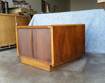 Vintage 1960's Lane Walnut Coffee Table Mid Century Modern Cabinet First Edition MCM