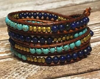 Blue Chan Luu Style Wrap Bracelet / Healing Crystal Bracelet / Chan Luu Bracelet / Chakra Bracelet
