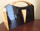 Art Deco Wooden Handbag Maple and Black Walnut Wood Handbag