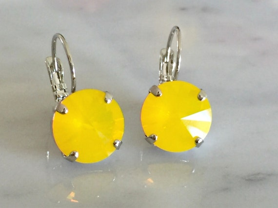 Yellow Opal Crystal Earrings, Swarovski Yellow Opal Earrings,  Swarovski Yellow Crystal Earrings, Bridesmaid Earrings
