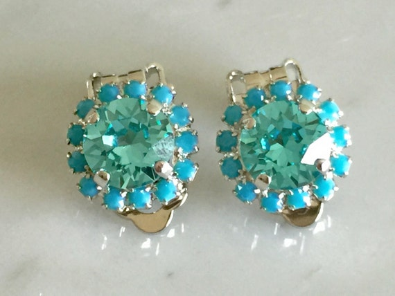 Light Turquoise & Turquoise Crystal Clip On Earrings, Silver