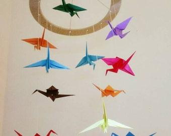 Handmade crib mobile - origami crane.