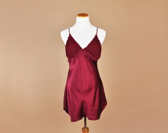 Vintage Silk Slip, 90's Silk Nightgown, Silk Slip Dress, Burgundy, Large, Vintage Slip, Slip Dress, 100% Silk