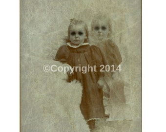 Twins Creepy Photo Victorian Vintage Altered Art Halloween CreepyCabniet Card Girl Children Instant Download Ephemera Scrapbook Card