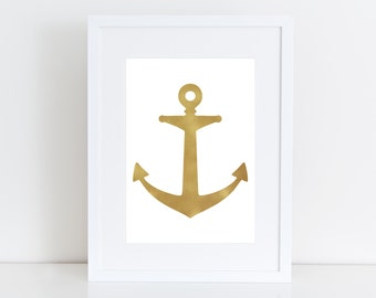 Gold and Blue Anchors -  Printable art , Instant download , wall print, nursery art