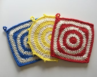 Set of 3 • Primary Color Handmade Crochet Potholders