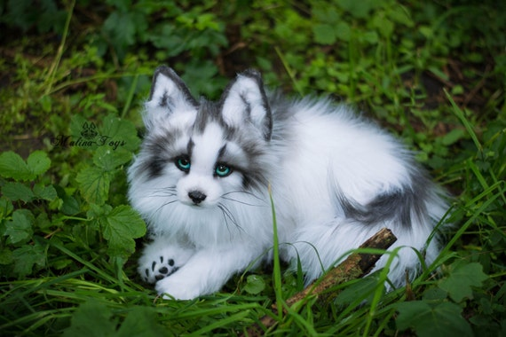 MADE TO ORDER Handmade Poseable toy Arctic Marble Fox.Fox