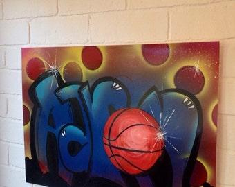 Graffiti Art Spray Paint Art Original Art Aaron Art Basket Ball Art Graffiti Poster Original Graffiti Art Aaron Graffiti Aaron Gift
