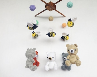 Amigurumi Plane Baby Mobile : White Puppy with tiny bell Amigurumi Baby Mobile Dog baby