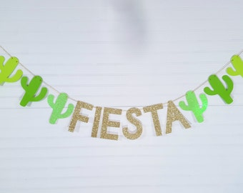 Cactus Fiesta Party Garland Banner - Green Ombre and Gold Glitter - Final Fiesta, Bachelorette Party - Birthday - Engagement Party