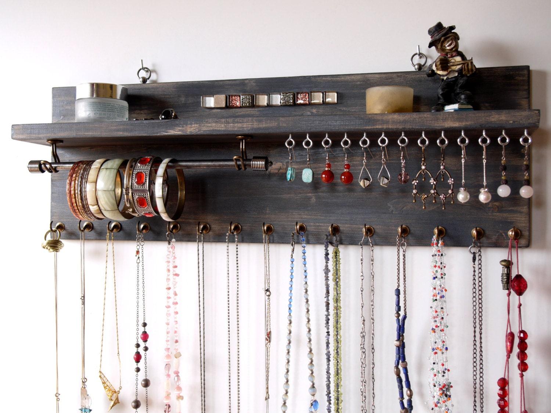 organisateur de bijoux avec tag re pr sentoir de boucles. Black Bedroom Furniture Sets. Home Design Ideas
