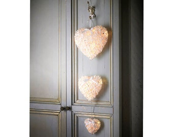 Three hanging hearts