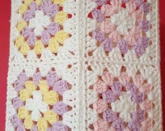 Crochet Lampshade.  100% cotton. Granny Square Pastel lampshade.