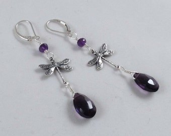 Purple Amethysts, Quartz,  Silverware Dragonflies, Sterling hooks.