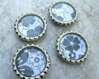 4pc magnet set, Black Floral design, strong fridge magnets