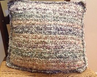Crocheted homespun pillow