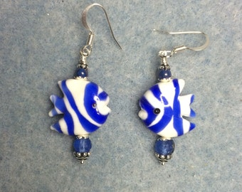 Bright blue and white striped lampwork angelfish bead dangle earrings adorned with blue Czech glass beads.