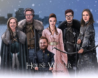 Custom Game of Thrones Portrait / Game of Thrones / A Song of Ice and Fire / Family and Friends / Bespoke Illustration / Starks