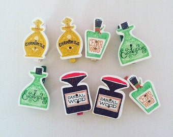 8 pcs wooden tag 'Aromatherapy' theme. Paper Clips.Planner Accessories