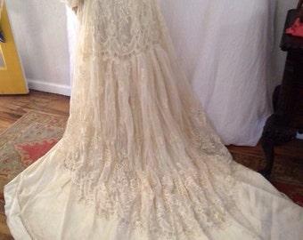 Vintage William Cahill Wedding Dress | Edwardian | Ivory | Lace | Train | Sheer | Satin | Long Sleeve | Romantic