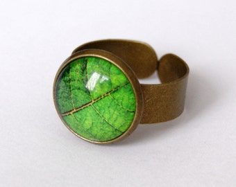 Green Leaf Adjustable Ring Statement Ring Antique Bronze Ring Green Leaf Statement Ring Leaf Jewelry Botanical Jewelry Green Ring for Her
