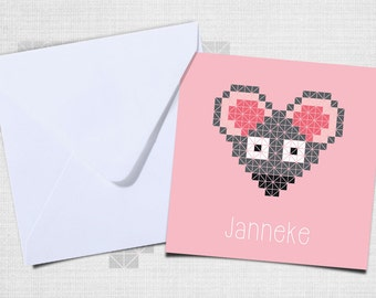Birth announcement mouse with envelope