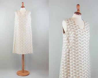 60s tunic dress, vintage sixties dress, embroidered woven, brown beige swingin london, a line dress, sartorial dress size L M