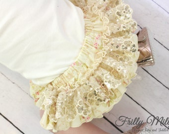 """frilly milly ruffle nappy pants cover cream """"Scarborough Fair"""""""