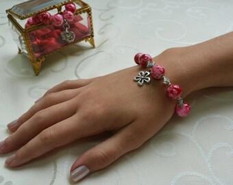 Beaded Bracelet, Red Beaded Bracelet