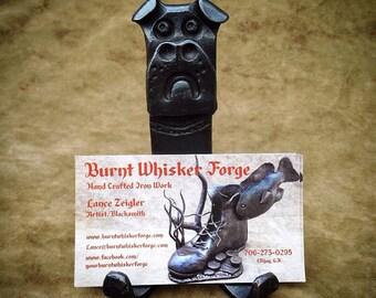 Business Card Holder, Bulldog Business Card Holder, Iron Card Display, BurntWhiskerForge, Georgia Dog, Blacksmith Business Card Display