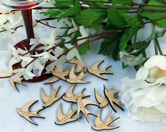 SWALLOWS Wooden PERSONALISED wedding / CP Table Confetti Scatter Favours