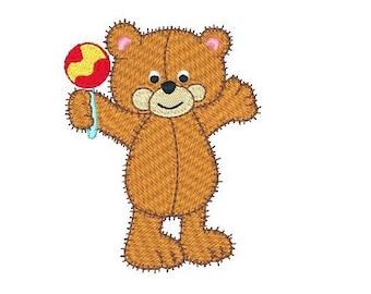 Teddy Bear Machine Embroidery Design, Fill Stitch, Old Fashioned Teddy Bear Embroidery Design, Instant Download, No: JG00049-5
