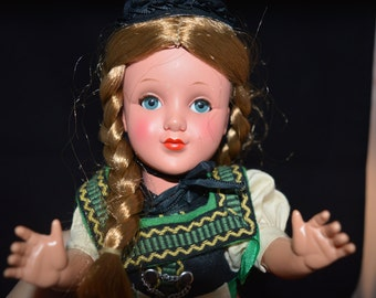 Heidi doll / doll / Heidi / red / green / black / hair braids / toy / toy doll / Childrens classic story / Johanna Spyri / Alps / Swiss Alps