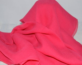 """Beautiful bright pink, silk crepe scarf, 60"""" long x 20"""" wide."""