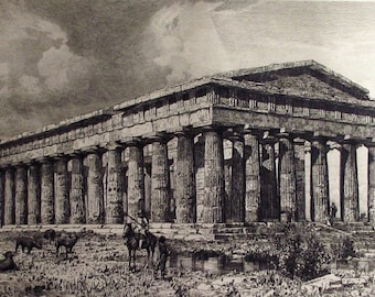 1878 - TEMPLE PAESTUM GREECE Magna Graecia - Etching. Italian Renaissance. Ancient City. Over 130 years old.