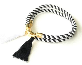 Black and White Tassel Bracelet   Striped Rope Bracelet   Braided Cord Jewellery