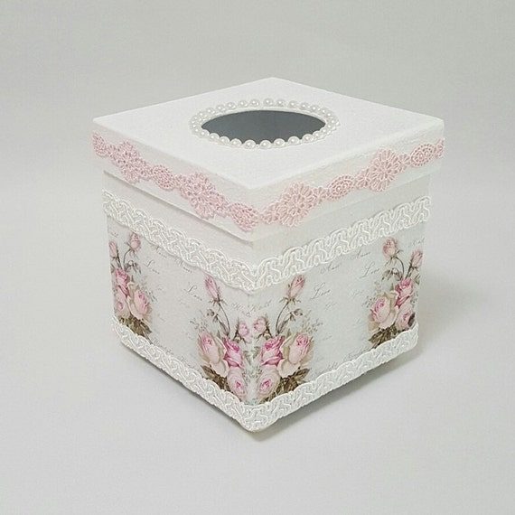 shabby chic tissue box tissue box cover by chiclaceandpearls
