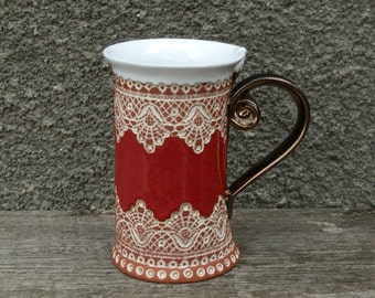 Ceramic Mug, Tea Mug, Red mug, Unique mug, Ceramics and pottery, ceramic cup, Tea cup, Coffee cup, Coffee mug, red mug, handmade mug, cup